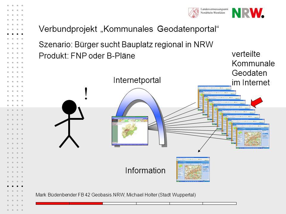 Mark Büdenbender FB 42 Geobasis.NRW, Michael Holter (Stadt Wuppertal) Verbundprojekt Kommunales Geodatenportal Szenario: Bürger sucht Bauplatz regiona