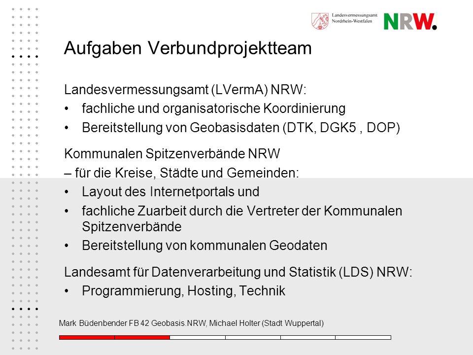 Mark Büdenbender FB 42 Geobasis.NRW, Michael Holter (Stadt Wuppertal) Aufgaben Verbundprojektteam Landesvermessungsamt (LVermA) NRW: fachliche und org