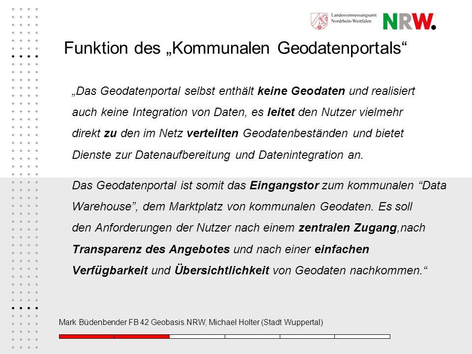 Mark Büdenbender FB 42 Geobasis.NRW, Michael Holter (Stadt Wuppertal) Funktion des Kommunalen Geodatenportals Das Geodatenportal selbst enthält keine