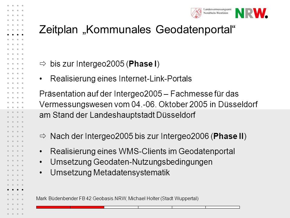 Mark Büdenbender FB 42 Geobasis.NRW, Michael Holter (Stadt Wuppertal) Zeitplan Kommunales Geodatenportal bis zur Intergeo2005 (Phase I) Realisierung e