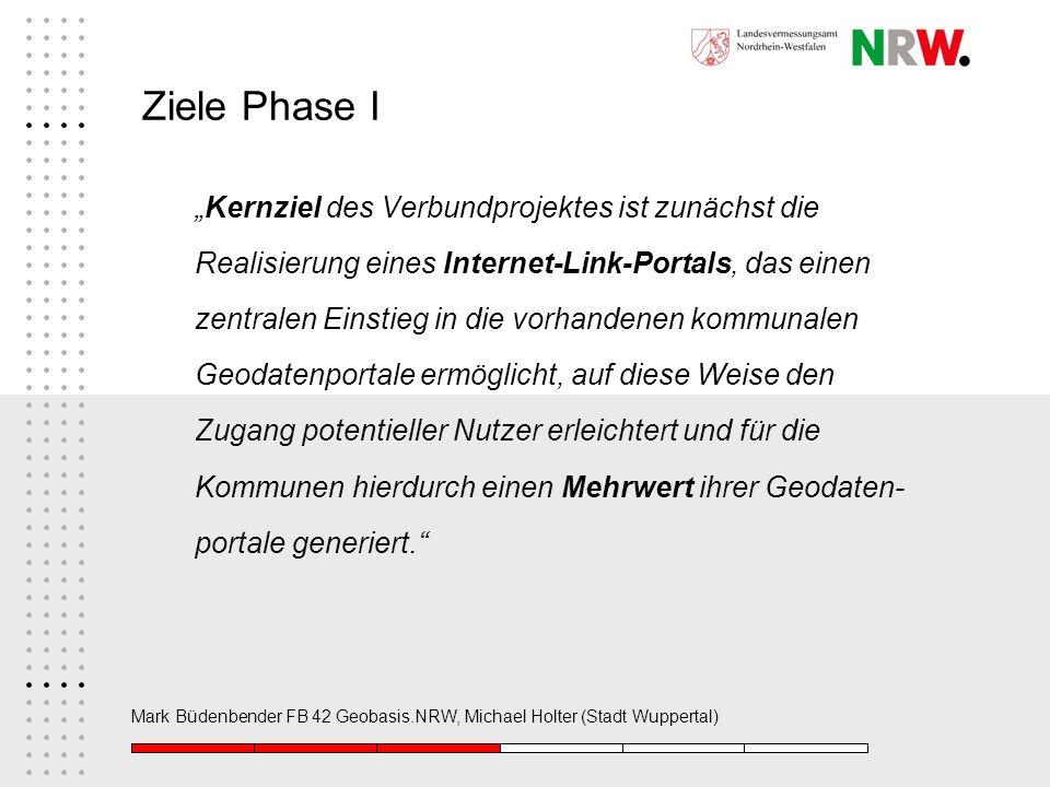 Mark Büdenbender FB 42 Geobasis.NRW, Michael Holter (Stadt Wuppertal) Ziele Phase I Kernziel des Verbundprojektes ist zunächst die Realisierung eines