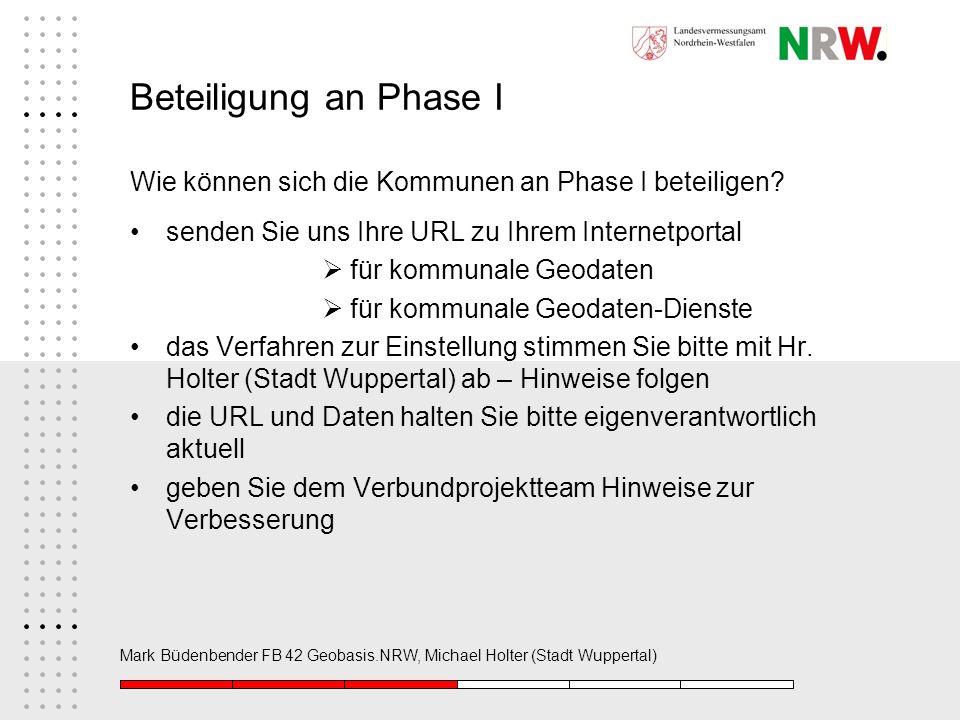 Mark Büdenbender FB 42 Geobasis.NRW, Michael Holter (Stadt Wuppertal) Beteiligung an Phase I Wie können sich die Kommunen an Phase I beteiligen? sende