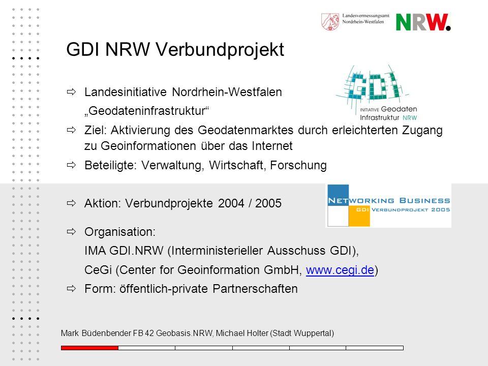 Mark Büdenbender FB 42 Geobasis.NRW, Michael Holter (Stadt Wuppertal) GDI NRW Verbundprojekt Landesinitiative Nordrhein-Westfalen Geodateninfrastruktu