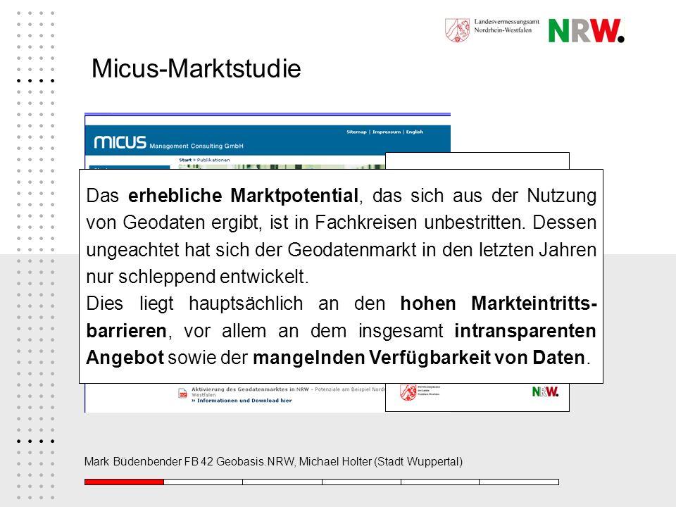Mark Büdenbender FB 42 Geobasis.NRW, Michael Holter (Stadt Wuppertal) Micus-Marktstudie Das erhebliche Marktpotential, das sich aus der Nutzung von Ge