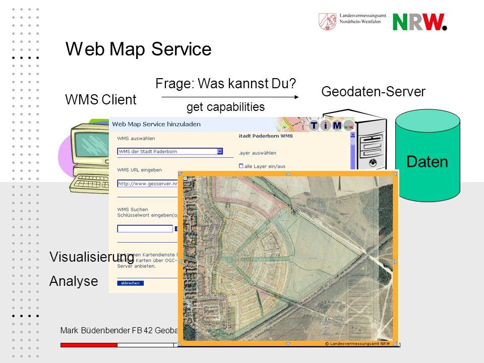Mark Büdenbender FB 42 Geobasis.NRW, Michael Holter (Stadt Wuppertal) Web Map Service Daten WMS Client Geodaten-Server Frage: Was kannst Du? get capab