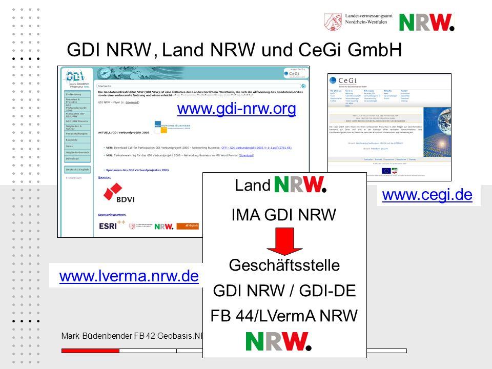 Mark Büdenbender FB 42 Geobasis.NRW, Michael Holter (Stadt Wuppertal) GDI NRW, Land NRW und CeGi GmbH Land IMA GDI NRW Geschäftsstelle GDI NRW / GDI-D