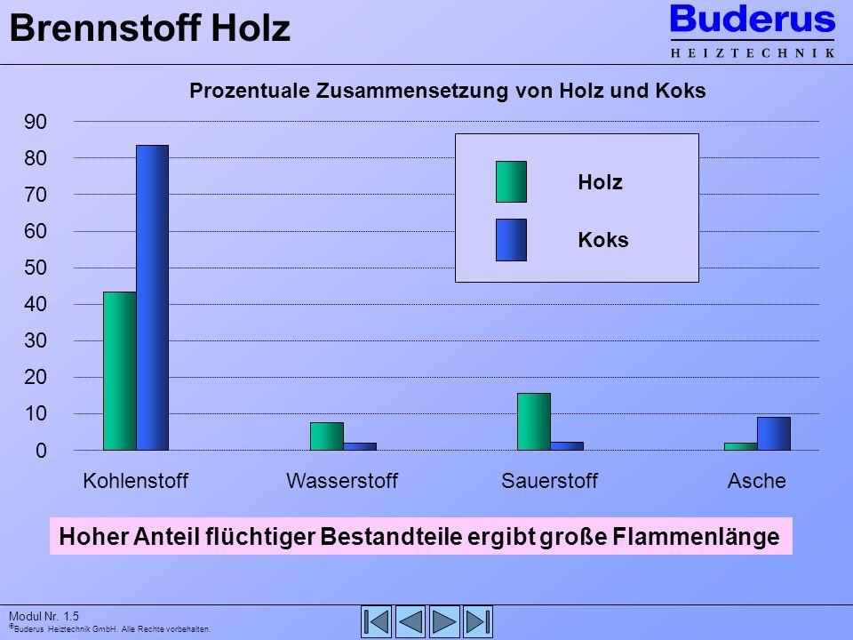 Buderus Heiztechnik GmbH. Alle Rechte vorbehalten. Modul Nr. 1.5 90 0 80 70 60 50 40 30 20 10 Prozentuale Zusammensetzung von Holz und Koks Brennstoff