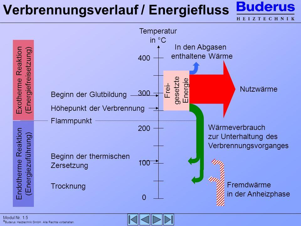 Buderus Heiztechnik GmbH. Alle Rechte vorbehalten. Modul Nr. 1.5 Verbrennungsverlauf / Energiefluss Temperatur in °C 400 200 100 0 300 Endotherme Reak