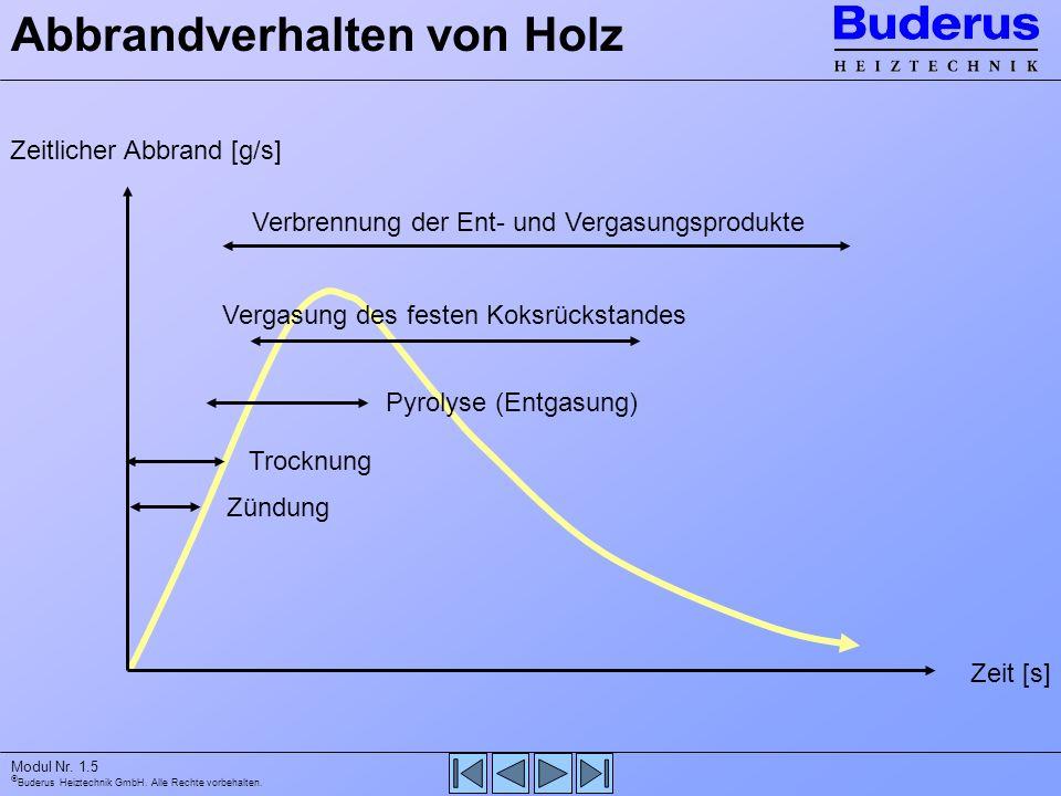 Buderus Heiztechnik GmbH. Alle Rechte vorbehalten. Modul Nr. 1.5 Abbrandverhalten von Holz Zeitlicher Abbrand [g/s] Zeit [s] Zündung Trocknung Pyrolys