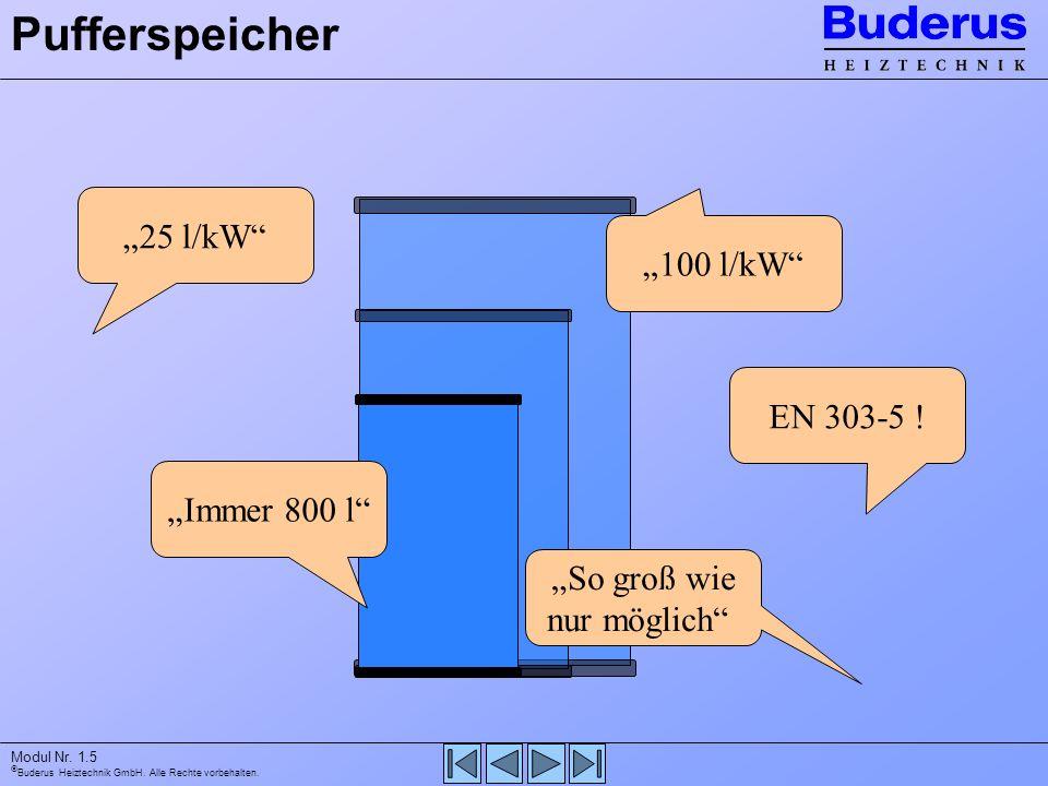 Buderus Heiztechnik GmbH. Alle Rechte vorbehalten. Modul Nr. 1.5 Pufferspeicher Immer 800 l EN 303-5 ! 25 l/kW 100 l/kW So groß wie nur möglich