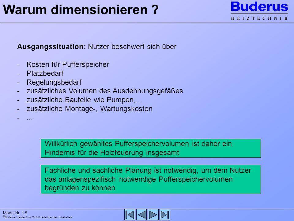 Buderus Heiztechnik GmbH. Alle Rechte vorbehalten. Modul Nr. 1.5 Ausgangssituation: Nutzer beschwert sich über -Kosten für Pufferspeicher -Platzbedarf