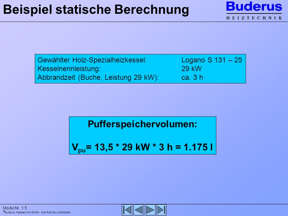 Buderus Heiztechnik GmbH. Alle Rechte vorbehalten. Modul Nr. 1.5 Beispiel statische Berechnung Gewählter Holz-Spezialheizkessel:Logano S 131 – 25 Kess