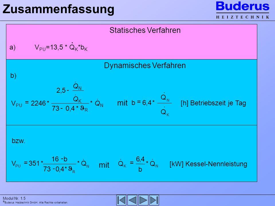 Buderus Heiztechnik GmbH. Alle Rechte vorbehalten. Modul Nr. 1.5 Dynamisches Verfahren Statisches Verfahren Zusammenfassung V PU =13,5 * Q K *b K. a)