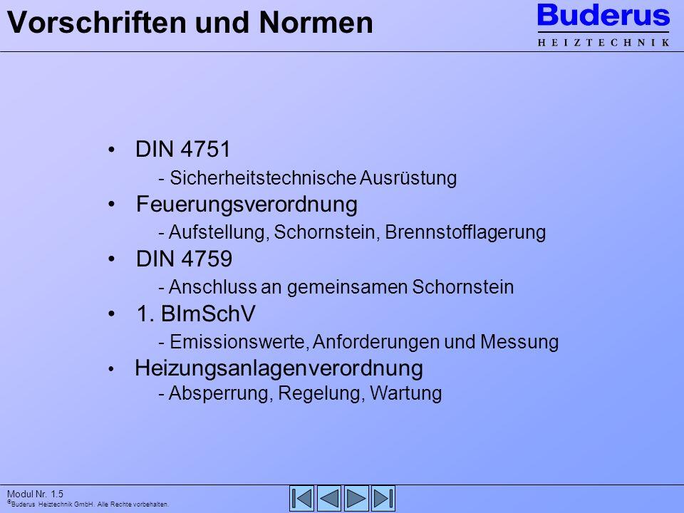 Buderus Heiztechnik GmbH. Alle Rechte vorbehalten. Modul Nr. 1.5 Vorschriften und Normen DIN 4751 - Sicherheitstechnische Ausrüstung Feuerungsverordnu