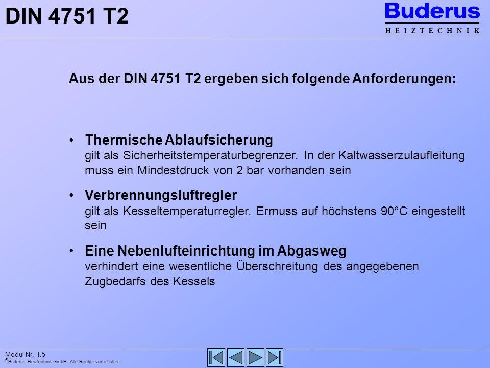 Buderus Heiztechnik GmbH. Alle Rechte vorbehalten. Modul Nr. 1.5 DIN 4751 T2 Aus der DIN 4751 T2 ergeben sich folgende Anforderungen: Thermische Ablau