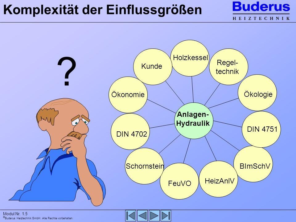 Buderus Heiztechnik GmbH. Alle Rechte vorbehalten. Modul Nr. 1.5 Anlagen- Hydraulik Holzkessel Regel- technik Kunde Ökonomie Ökologie DIN 4702 Schorns
