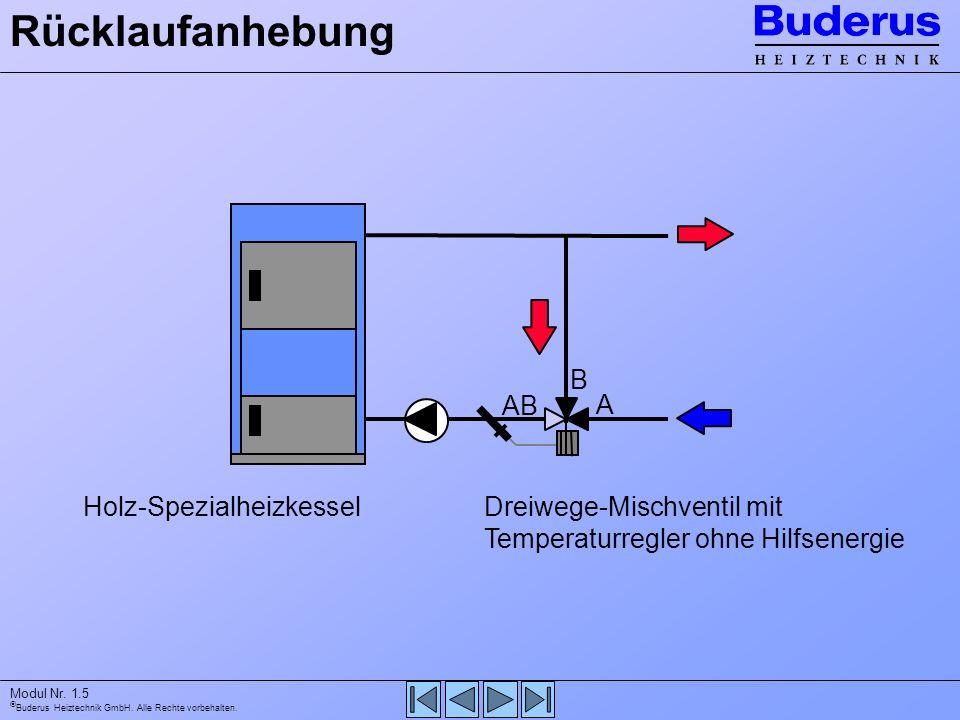 Buderus Heiztechnik GmbH. Alle Rechte vorbehalten. Modul Nr. 1.5 Holz-SpezialheizkesselDreiwege-Mischventil mit Temperaturregler ohne Hilfsenergie Rüc