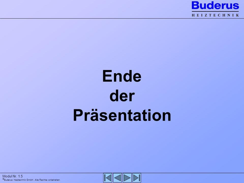 Buderus Heiztechnik GmbH. Alle Rechte vorbehalten. Modul Nr. 1.5 Ende der Präsentation