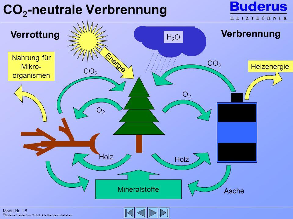 Buderus Heiztechnik GmbH. Alle Rechte vorbehalten. Modul Nr. 1.5 CO 2 -neutrale Verbrennung Mineralstoffe Verbrennung Holz Heizenergie Asche Verrottun