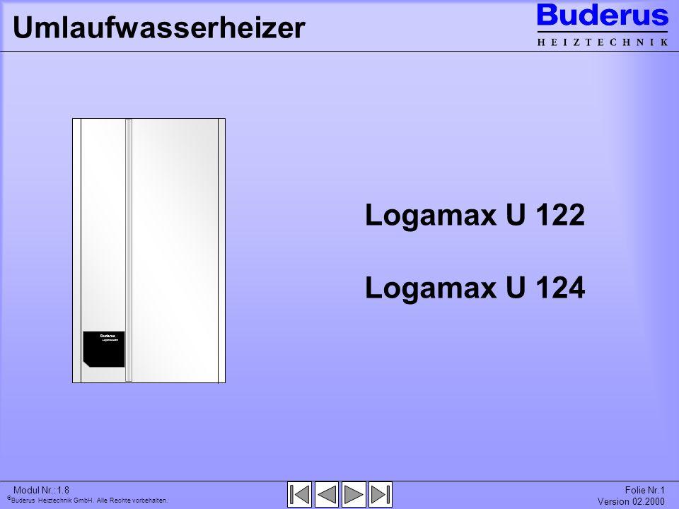 Buderus Heiztechnik GmbH. Alle Rechte vorbehalten. Modul Nr.:1.8Folie Nr.1 Version 02.2000 Umlaufwasserheizer Logamax U 122 Logamax U 124 Buderus Loga