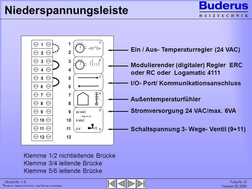 Buderus Heiztechnik GmbH. Alle Rechte vorbehalten. Modul Nr.:1.8Folie Nr.13 Version 02.2000 Niederspannungsleiste Schaltspannung 3- Wege- Ventil (9+11