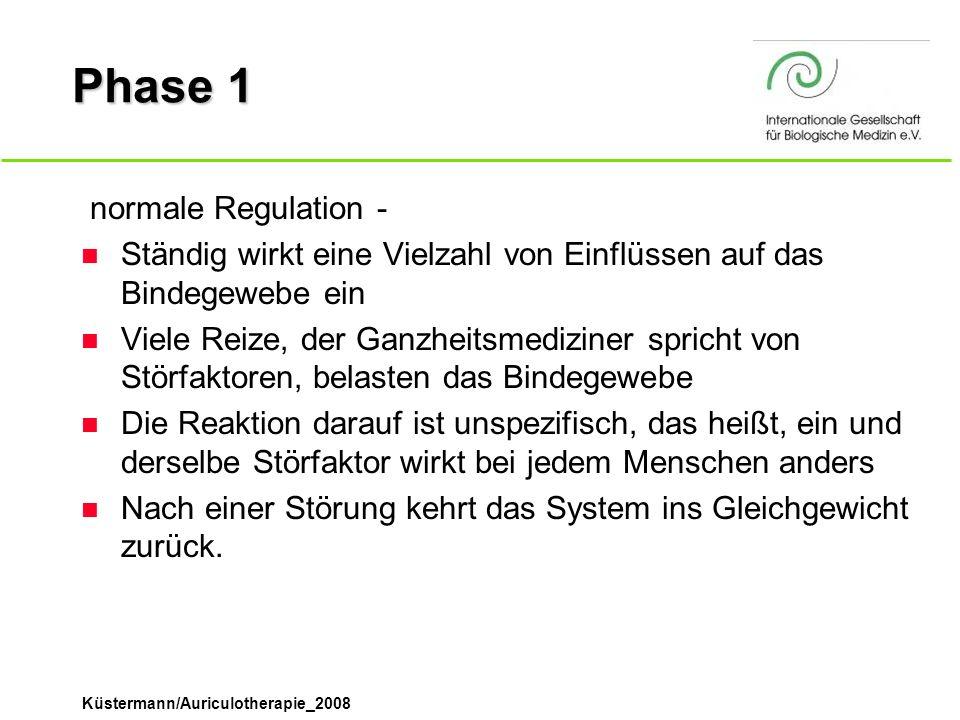 Küstermann/Auriculotherapie_2008 Phase 1  normale Regulation - n Ständig wirkt eine Vielzahl von Einflüssen auf das Bindegewebe ein n Viele Reize, de