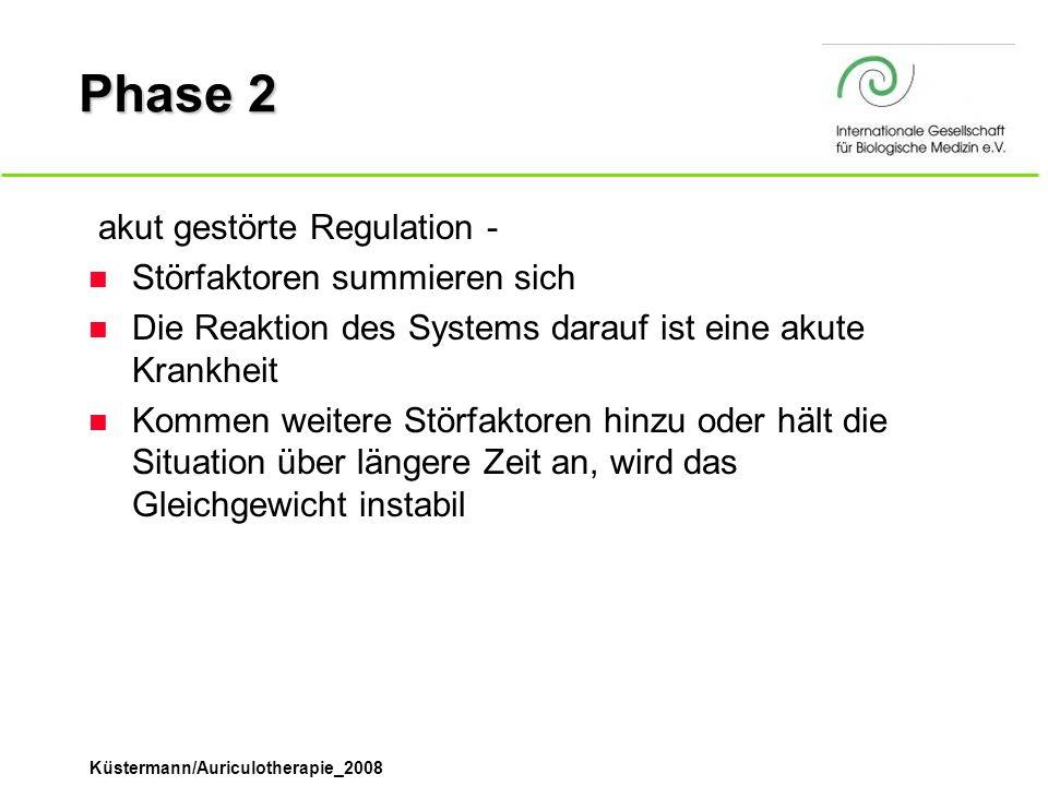 Küstermann/Auriculotherapie_2008 Phase 2  akut gestörte Regulation - n Störfaktoren summieren sich n Die Reaktion des Systems darauf ist eine akute K