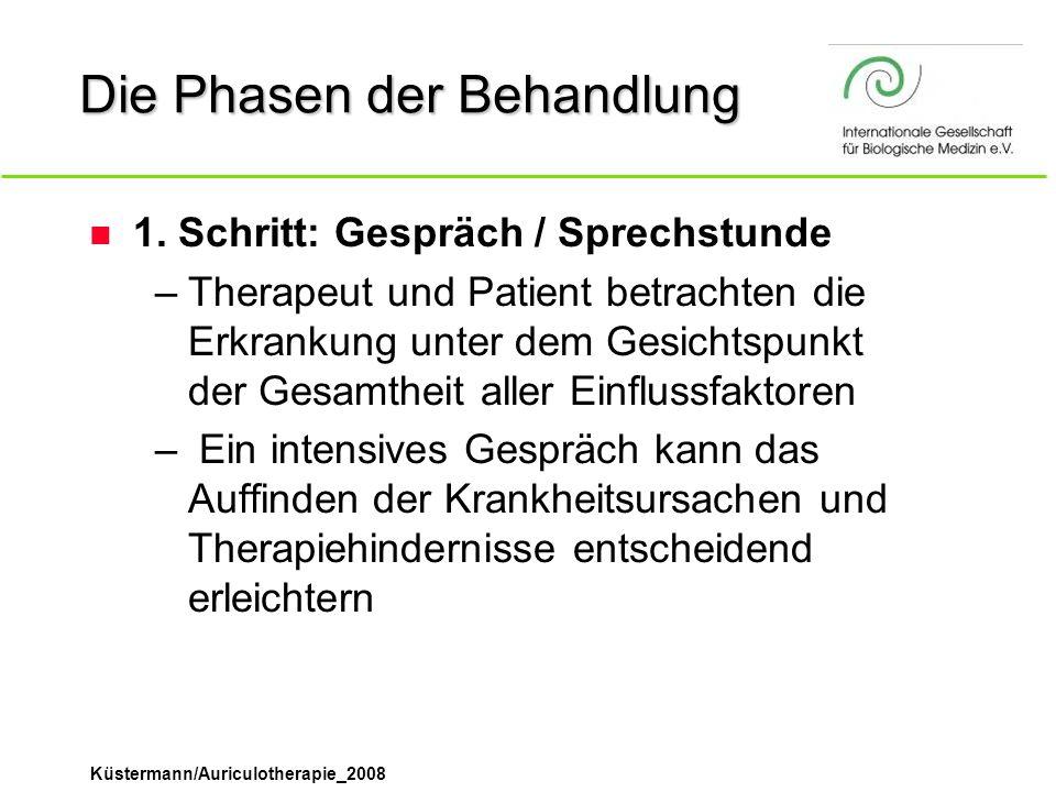 Küstermann/Auriculotherapie_2008 Die Phasen der Behandlung n 1. Schritt: Gespräch / Sprechstunde –Therapeut und Patient betrachten die Erkrankung unte