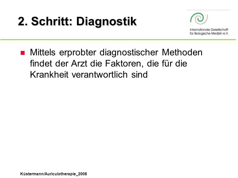 Küstermann/Auriculotherapie_2008 2. Schritt: Diagnostik n Mittels erprobter diagnostischer Methoden findet der Arzt die Faktoren, die für die Krankhei