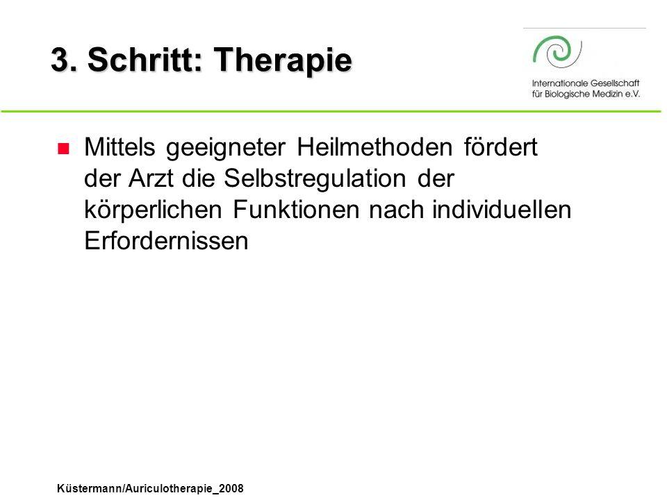 Küstermann/Auriculotherapie_2008 3. Schritt: Therapie n Mittels geeigneter Heilmethoden fördert der Arzt die Selbstregulation der körperlichen Funktio