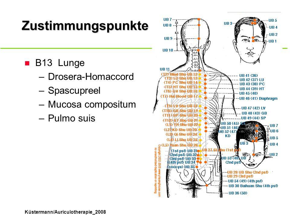Küstermann/Auriculotherapie_2008 Zustimmungspunkte n B13Lunge –Drosera-Homaccord –Spascupreel –Mucosa compositum –Pulmo suis