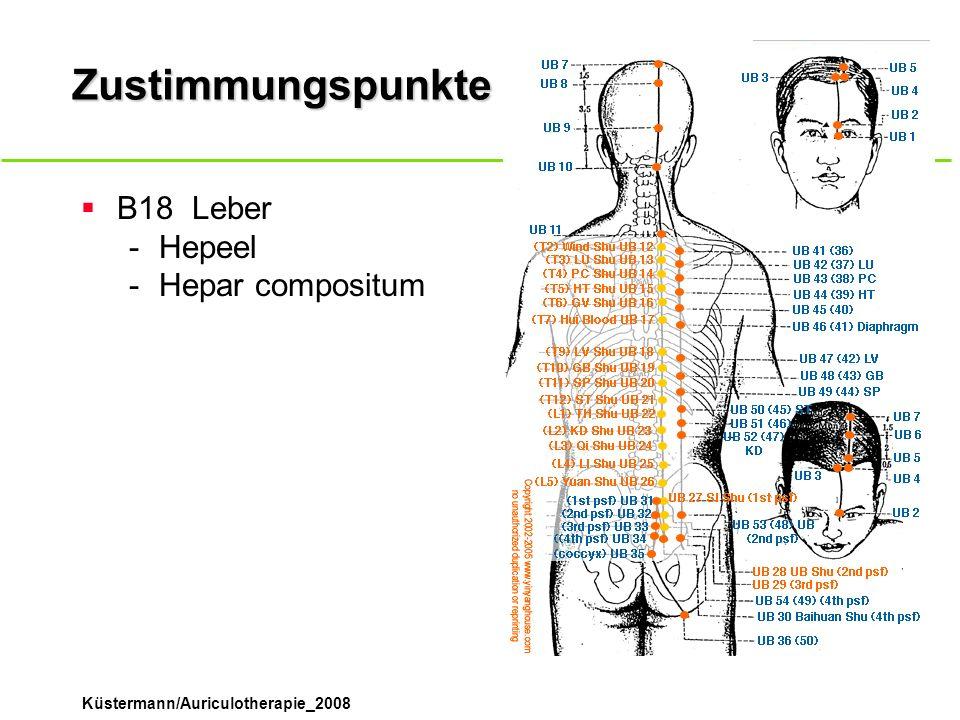 Küstermann/Auriculotherapie_2008 Zustimmungspunkte B18Leber -Hepeel -Hepar compositum