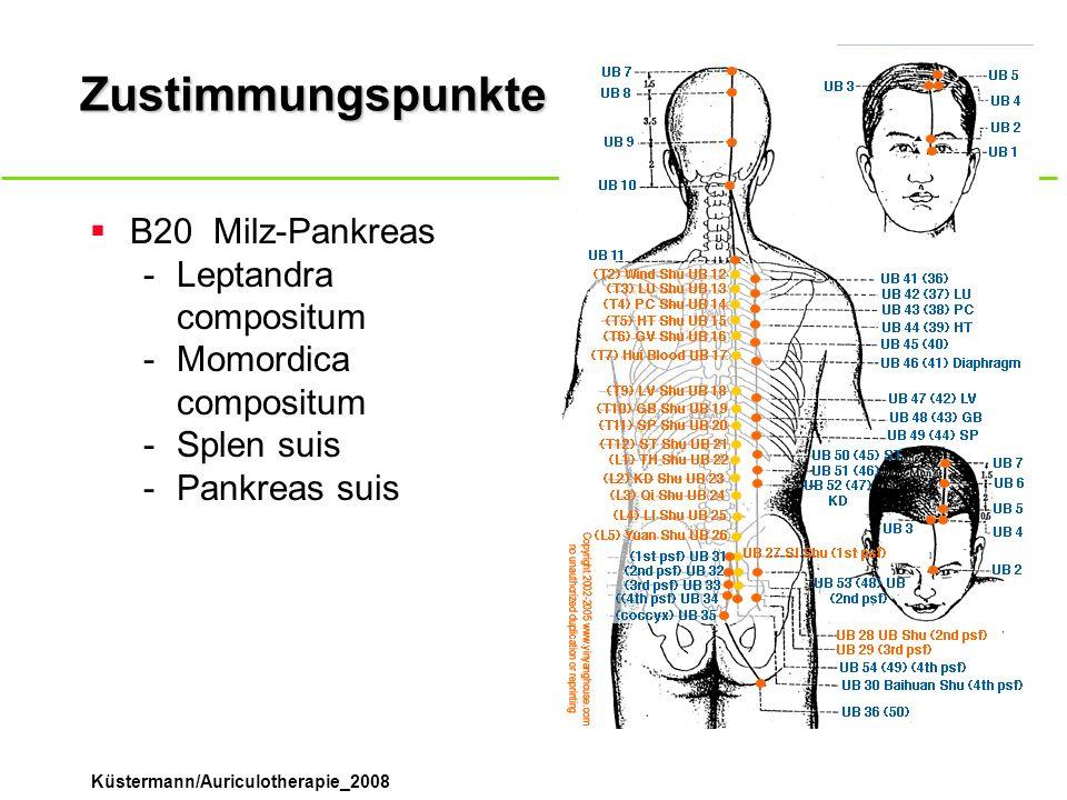 Küstermann/Auriculotherapie_2008 Zustimmungspunkte B20Milz-Pankreas -Leptandra compositum -Momordica compositum -Splen suis -Pankreas suis