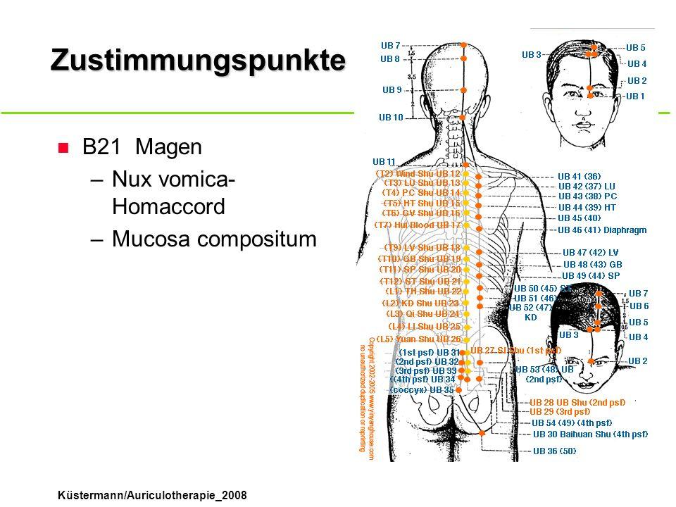 Küstermann/Auriculotherapie_2008 Zustimmungspunkte n B21Magen –Nux vomica- Homaccord –Mucosa compositum