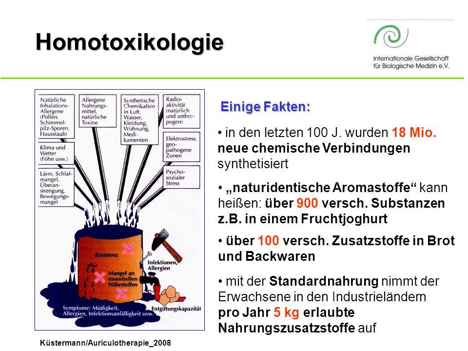 Küstermann/Auriculotherapie_2008 Homotoxikologie in den letzten 100 J. wurden 18 Mio. neue chemische Verbindungen synthetisiert Einige Fakten: naturid