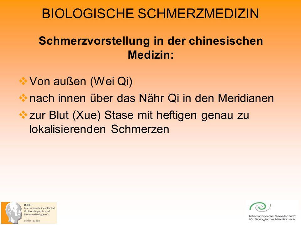 BIOLOGISCHE SCHMERZMEDIZIN Schmerzvorstellung in der chinesischen Medizin: Von außen (Wei Qi) nach innen über das Nähr Qi in den Meridianen zur Blut (Xue) Stase mit heftigen genau zu lokalisierenden Schmerzen