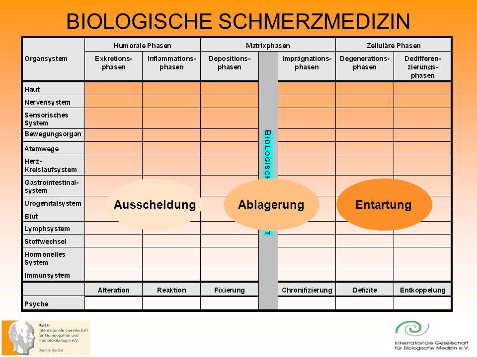 BIOLOGISCHE SCHMERZMEDIZIN Ausscheidung AblagerungEntartung