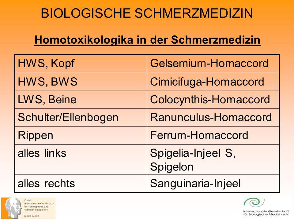 BIOLOGISCHE SCHMERZMEDIZIN Homotoxikologika in der Schmerzmedizin HWS, KopfGelsemium-Homaccord HWS, BWSCimicifuga-Homaccord LWS, BeineColocynthis-Homaccord Schulter/EllenbogenRanunculus-Homaccord RippenFerrum-Homaccord alles linksSpigelia-Injeel S, Spigelon alles rechtsSanguinaria-Injeel