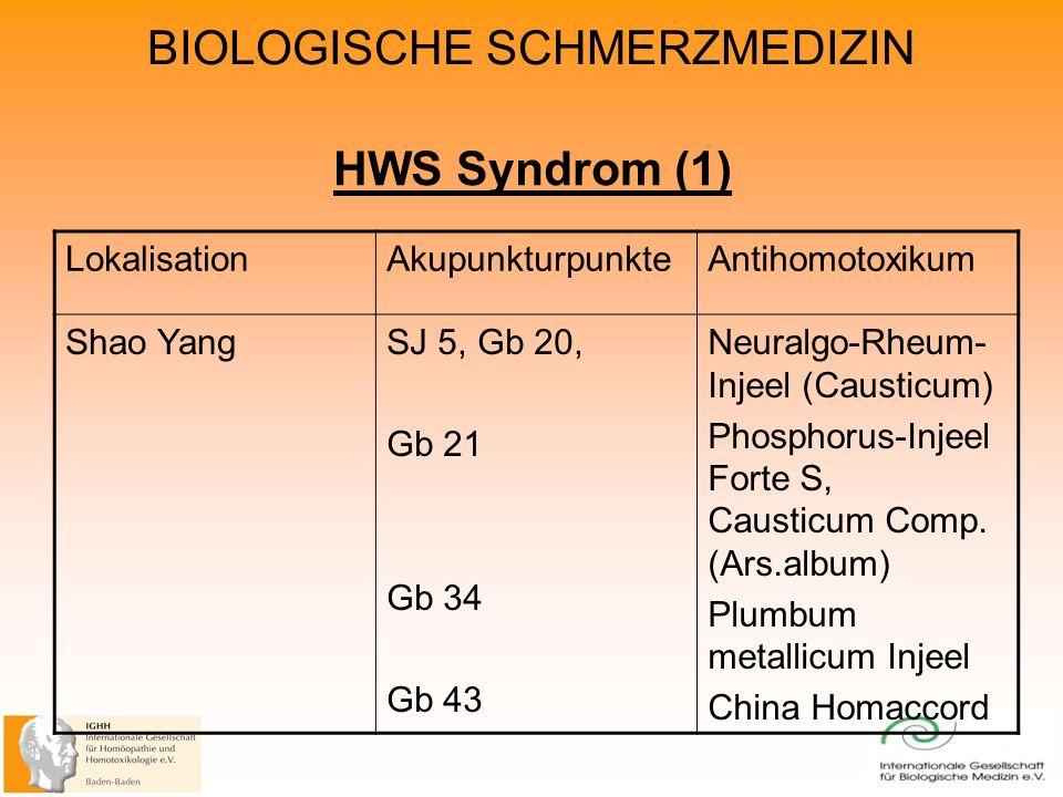 HWS Syndrom (1) LokalisationAkupunkturpunkteAntihomotoxikum Shao YangSJ 5, Gb 20, Gb 21 Gb 34 Gb 43 Neuralgo-Rheum- Injeel (Causticum) Phosphorus-Injeel Forte S, Causticum Comp.