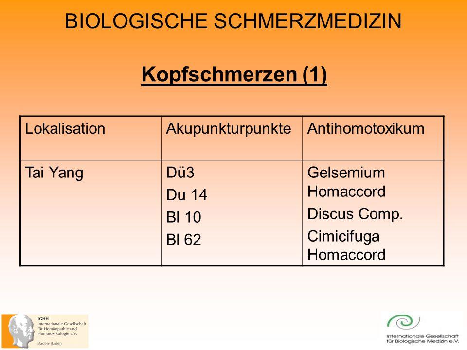 BIOLOGISCHE SCHMERZMEDIZIN Kopfschmerzen (1) LokalisationAkupunkturpunkteAntihomotoxikum Tai YangDü3 Du 14 Bl 10 Bl 62 Gelsemium Homaccord Discus Comp.
