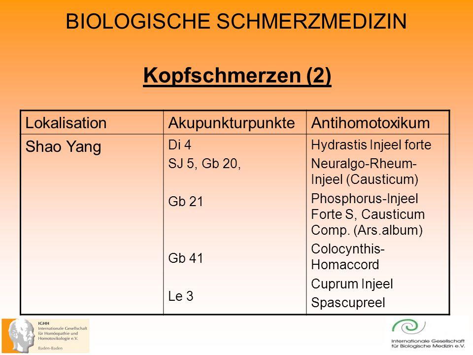 BIOLOGISCHE SCHMERZMEDIZIN Kopfschmerzen (2) LokalisationAkupunkturpunkteAntihomotoxikum Shao Yang Di 4 SJ 5, Gb 20, Gb 21 Gb 41 Le 3 Hydrastis Injeel forte Neuralgo-Rheum- Injeel (Causticum) Phosphorus-Injeel Forte S, Causticum Comp.