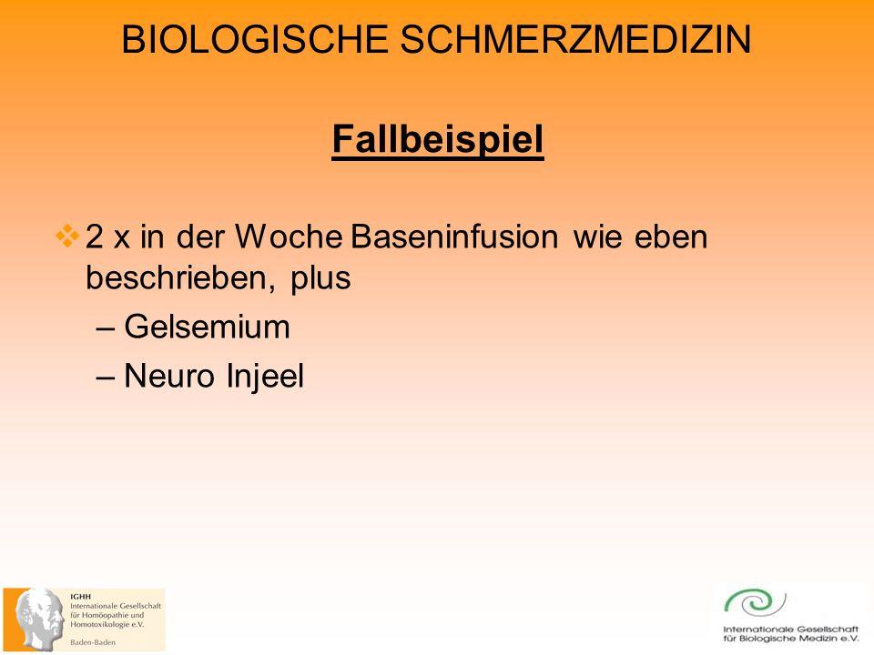 BIOLOGISCHE SCHMERZMEDIZIN Fallbeispiel 2 x in der Woche Baseninfusion wie eben beschrieben, plus –Gelsemium –Neuro Injeel