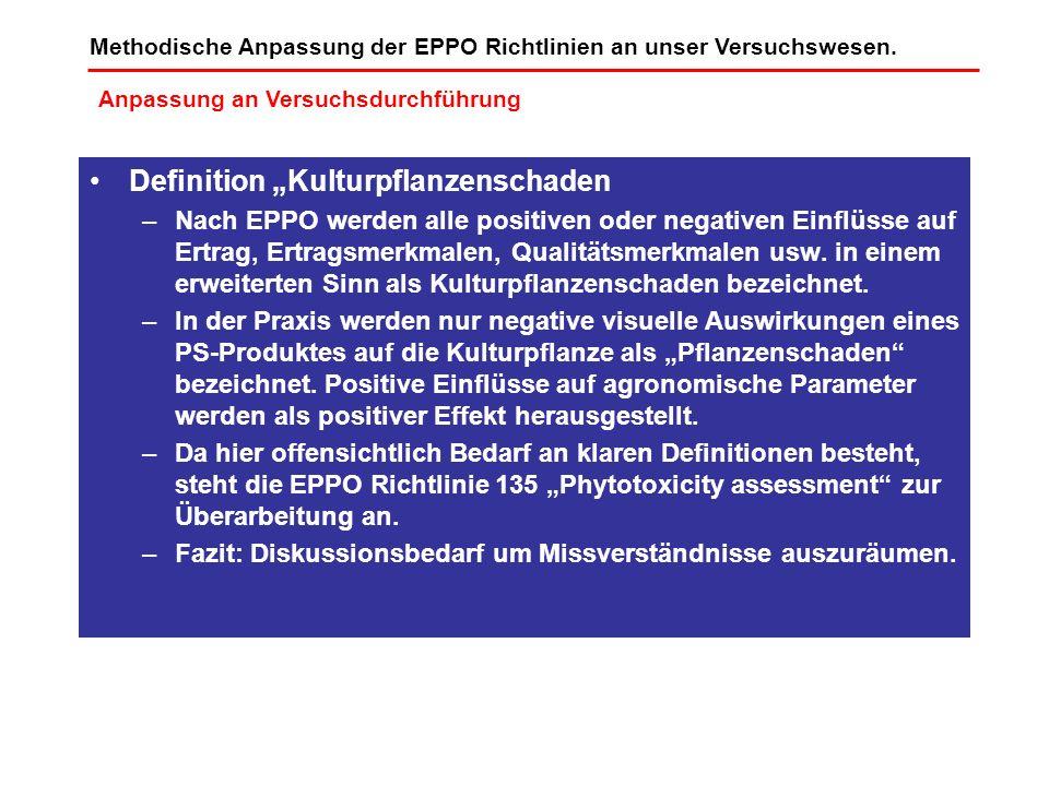 Definition Kulturpflanzenschaden –Nach EPPO werden alle positiven oder negativen Einflüsse auf Ertrag, Ertragsmerkmalen, Qualitätsmerkmalen usw. in ei