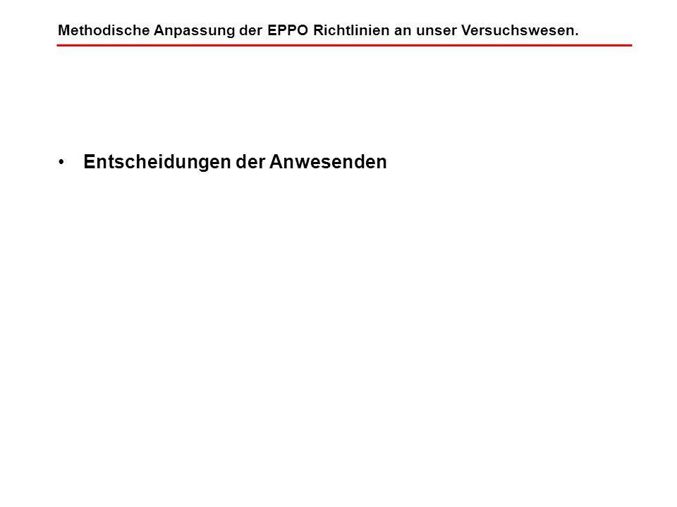 Entscheidungen der Anwesenden Methodische Anpassung der EPPO Richtlinien an unser Versuchswesen.