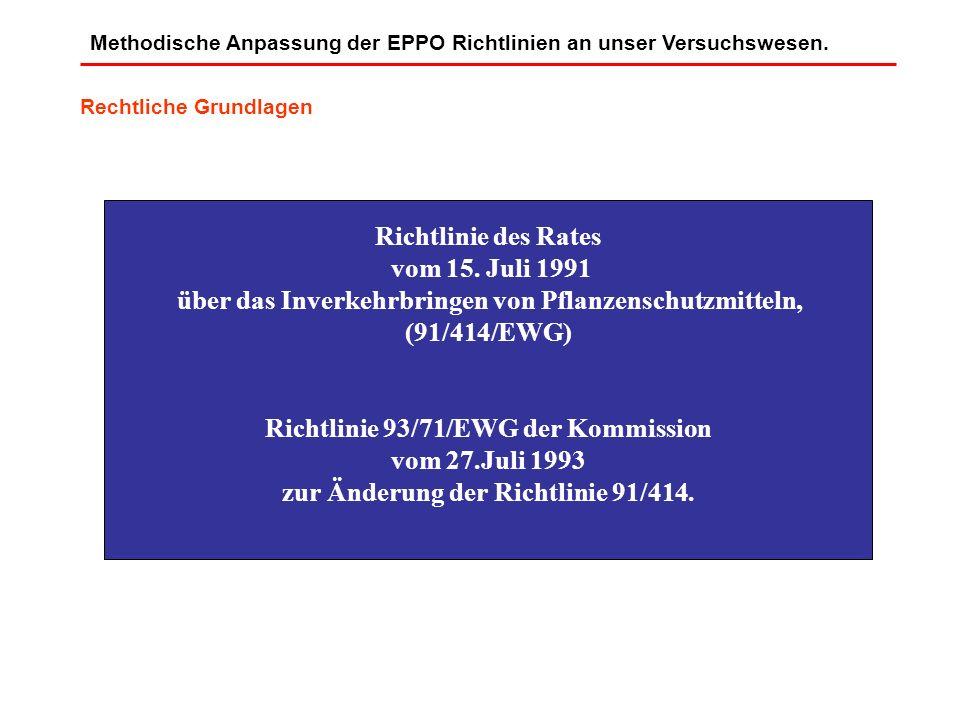 Methodische Anpassung der EPPO Richtlinien an unser Versuchswesen. Richtlinie des Rates vom 15. Juli 1991 über das Inverkehrbringen von Pflanzenschutz