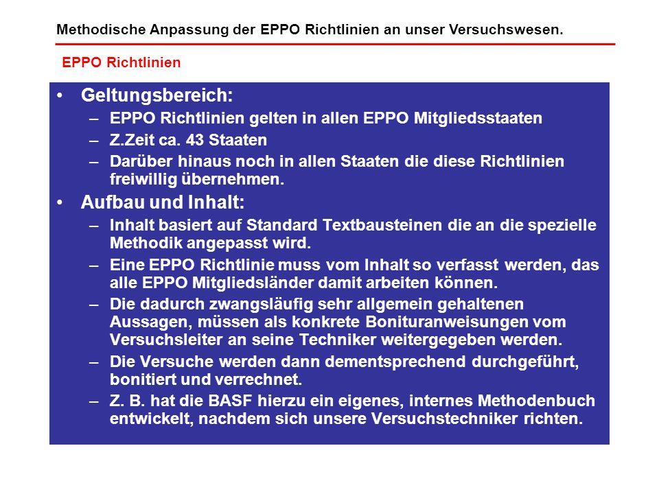 Methodische Anpassung der EPPO Richtlinien an unser Versuchswesen. EPPO Richtlinien Geltungsbereich: –EPPO Richtlinien gelten in allen EPPO Mitgliedss