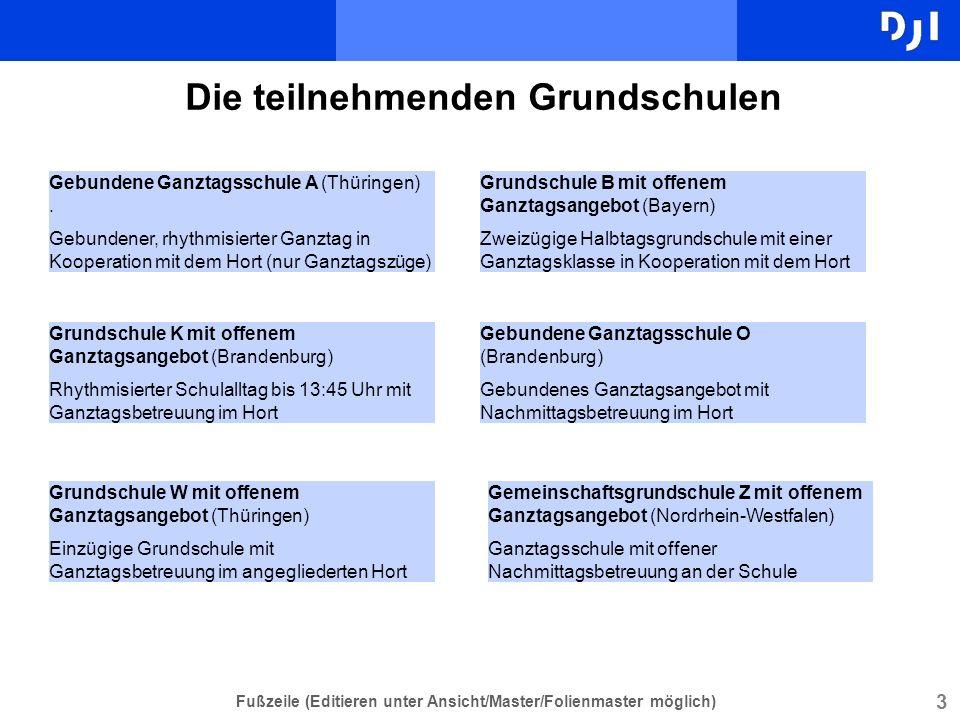 3 Fußzeile (Editieren unter Ansicht/Master/Folienmaster möglich) Die teilnehmenden Grundschulen Gebundene Ganztagsschule A (Thüringen). Gebundener, rh