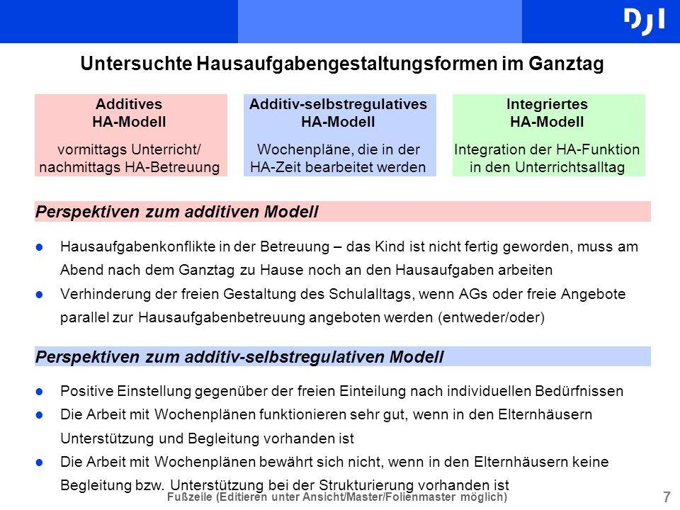 7 Fußzeile (Editieren unter Ansicht/Master/Folienmaster möglich) Untersuchte Hausaufgabengestaltungsformen im Ganztag l Hausaufgabenkonflikte in der B