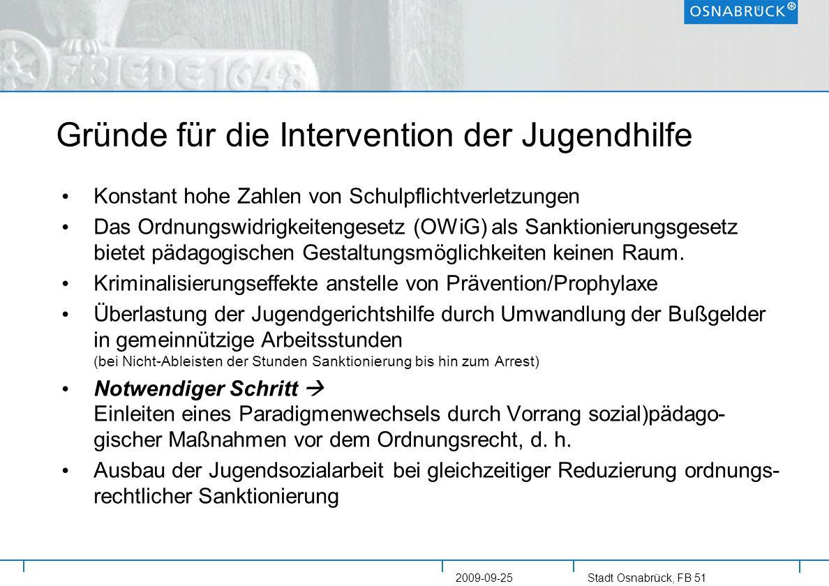 Stadt Osnabrück, FB 51 2009-09-25 Gründe für die Intervention der Jugendhilfe Konstant hohe Zahlen von Schulpflichtverletzungen Das Ordnungswidrigkeit