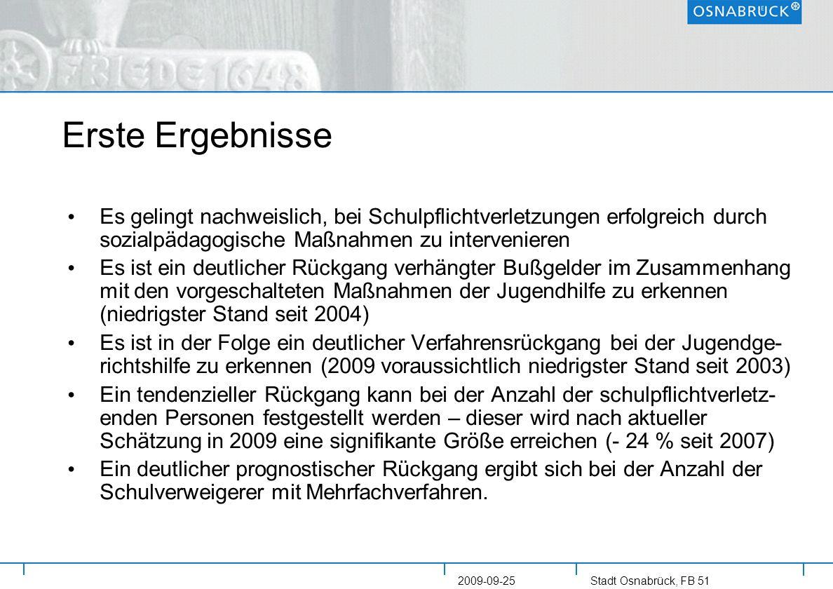 Stadt Osnabrück, FB 51 2009-09-25 Erste Ergebnisse Es gelingt nachweislich, bei Schulpflichtverletzungen erfolgreich durch sozialpädagogische Maßnahme